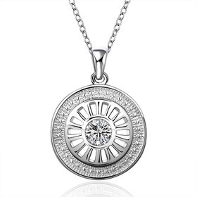Wholesale Trendy Silver Round CZ Necklace TGSPN162