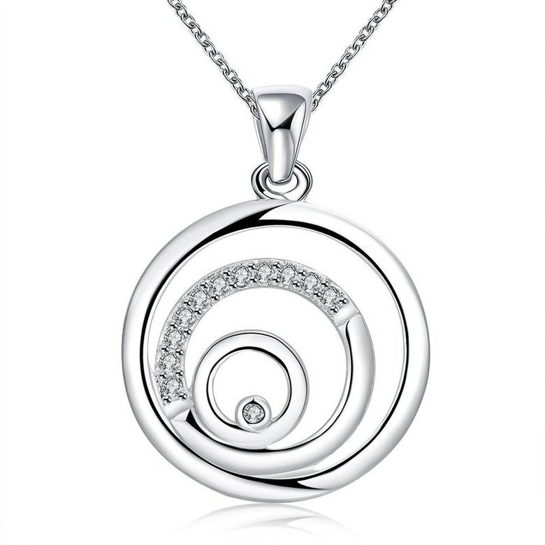Wholesale Trendy Silver Round CZ Necklace TGSPN209
