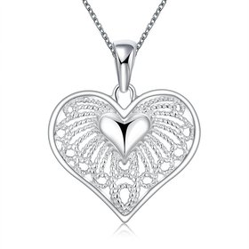 Wholesale Classic Silver Heart Necklace TGSPN244