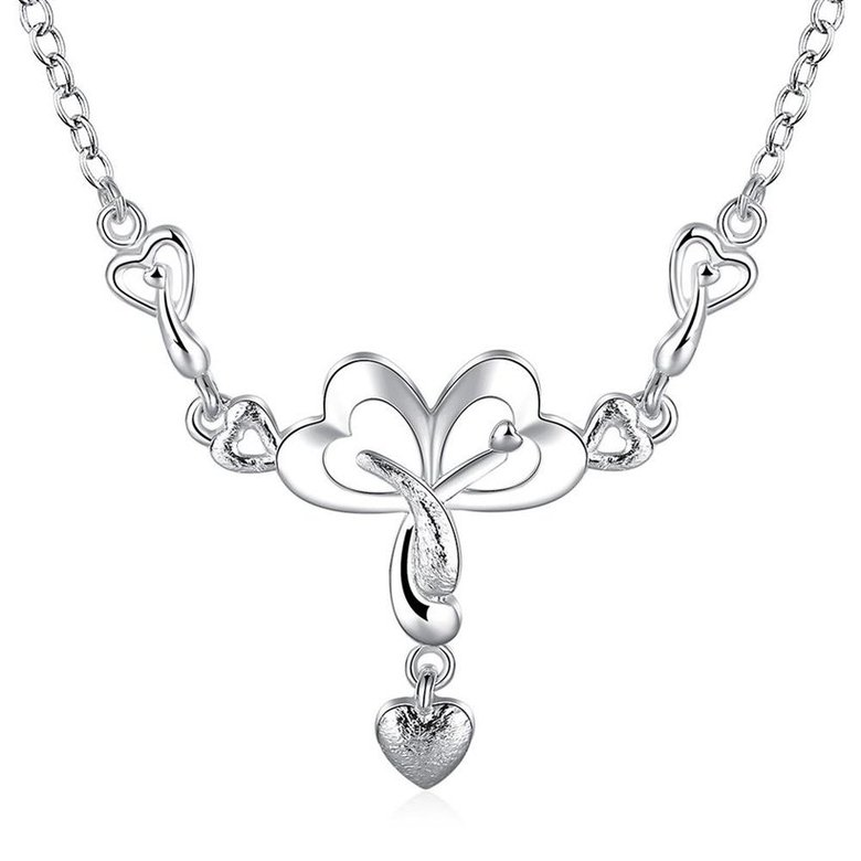 Wholesale Romantic Silver Heart Necklace TGSPN322