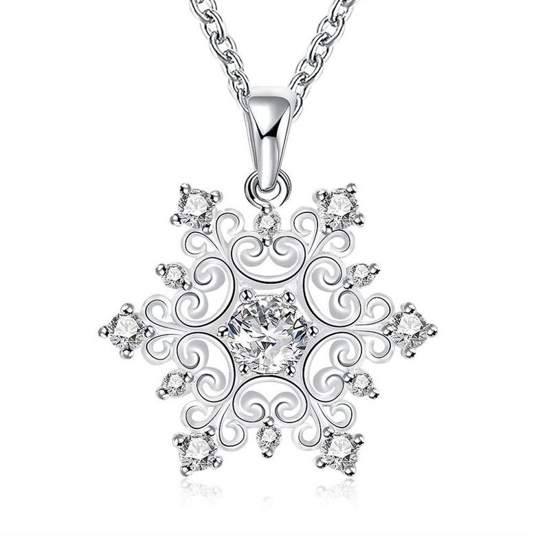 Wholesale Classic Silver Geometric CZ Necklace TGSPN335