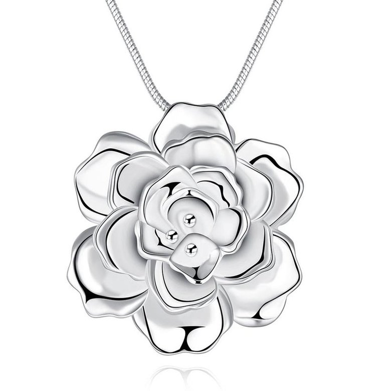Wholesale Romantic Silver Plant Necklace TGSPN339