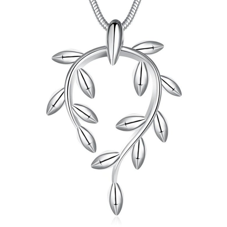 Wholesale Trendy Silver Plant Necklace TGSPN370