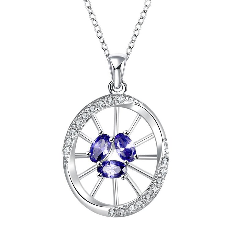Wholesale Classic Silver Round Glass Necklace TGSPN623