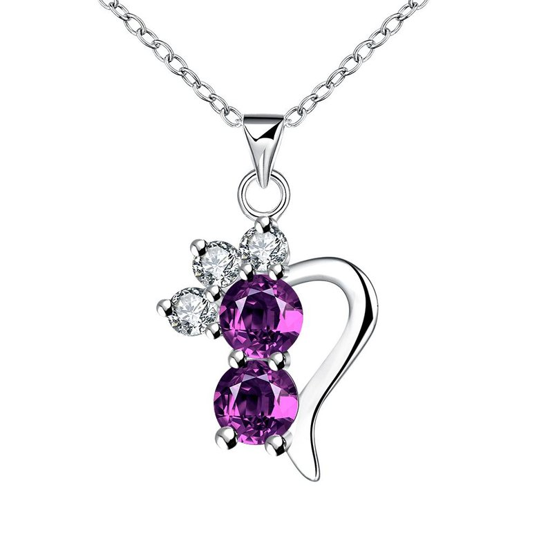 Wholesale Romantic Silver Geometric CZ Necklace TGSPN726