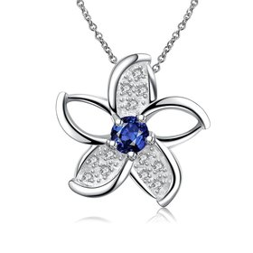 Wholesale Romantic Silver Star Glass Necklace TGSPN735