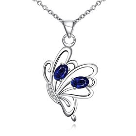 Wholesale Romantic Silver Insect Glass Necklace TGSPN738