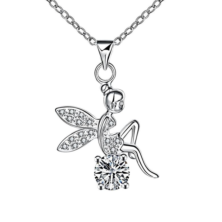 Wholesale Romantic Silver Fairy CZ Necklace TGSPN039