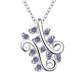 Wholesale Trendy Silver Plant CZ Necklace TGSPN083