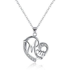 Wholesale Trendy Silver Heart White CZ Necklace TGSPN122