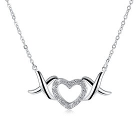 Wholesale Trendy Silver Heart White CZ Necklace TGSPN144