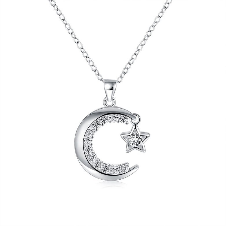Wholesale Trendy Silver Moon White CZ Necklace TGSPN156