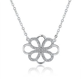 Wholesale Trendy Silver Geometric White CZ Necklace TGSPN188
