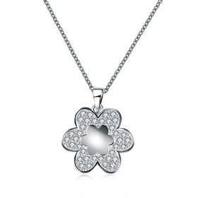 Wholesale Trendy Silver Geometric White CZ Necklace TGSPN200