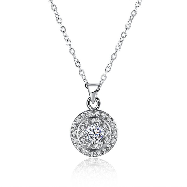 Wholesale Romantic 925 Sterling Silver Round White CZ Necklace TGSSN131