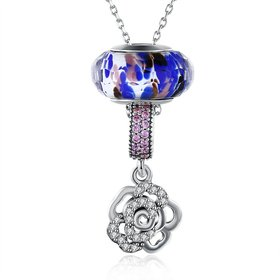Wholesale 925 Silver Rose CZ Necklace TGSSN092