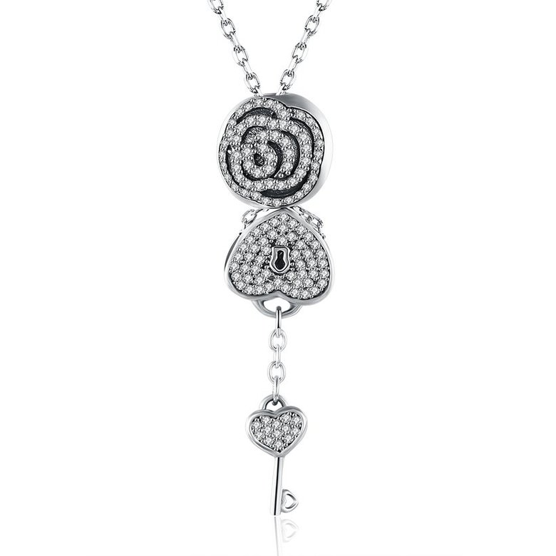 Wholesale Trendy 925 Sterling Silver Key CZ NecklaceLady TGSSN102