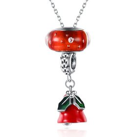 Wholesale Wholessale Romantic 925 Sterling Silver Red Bell Necklace TGSSN104