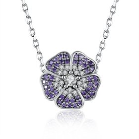 Wholesale 925 Silver Five Grass CZ Necklace TGSSN112