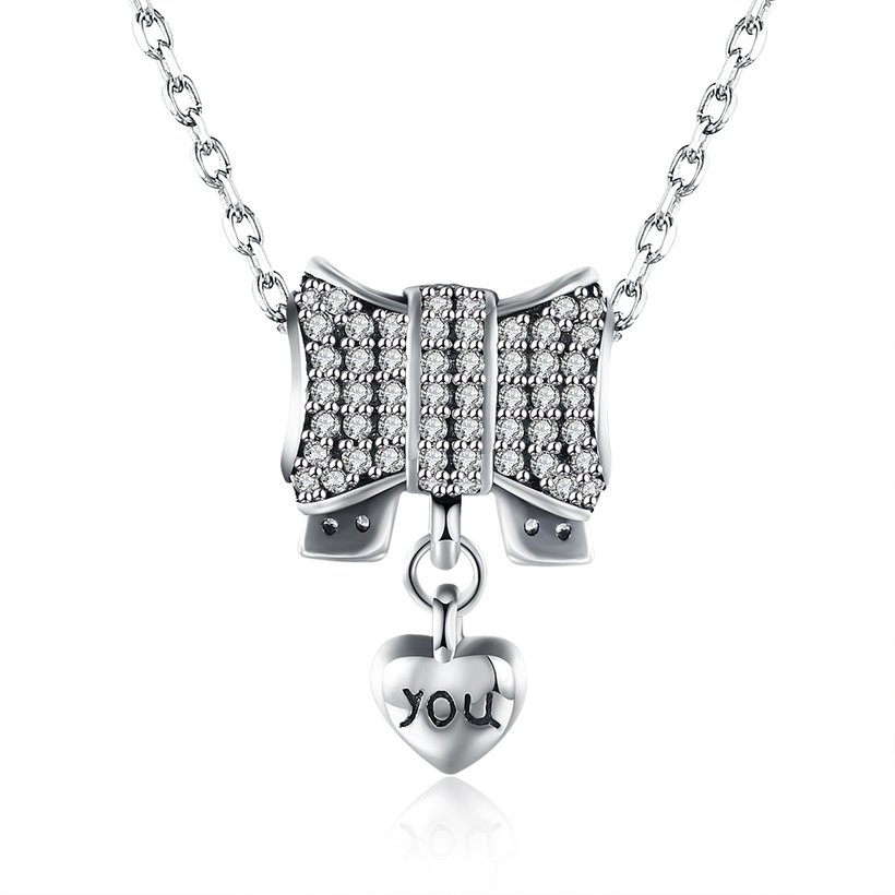 Wholesale Romantic 925 Sterling Silver Bowknot Heart CZ Necklace TGSSN126