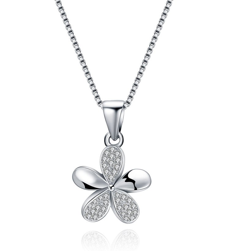 Wholesale 925 Silver Five Grass CZ Necklace TGSSN149