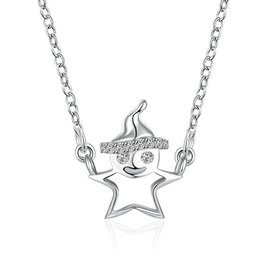 Wholesale Fashion 925 Sterling Silver Snow Man CZ Necklace TGSSN156