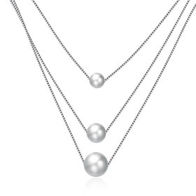 Trendy 925 Sterling Silver Pearl Necklace