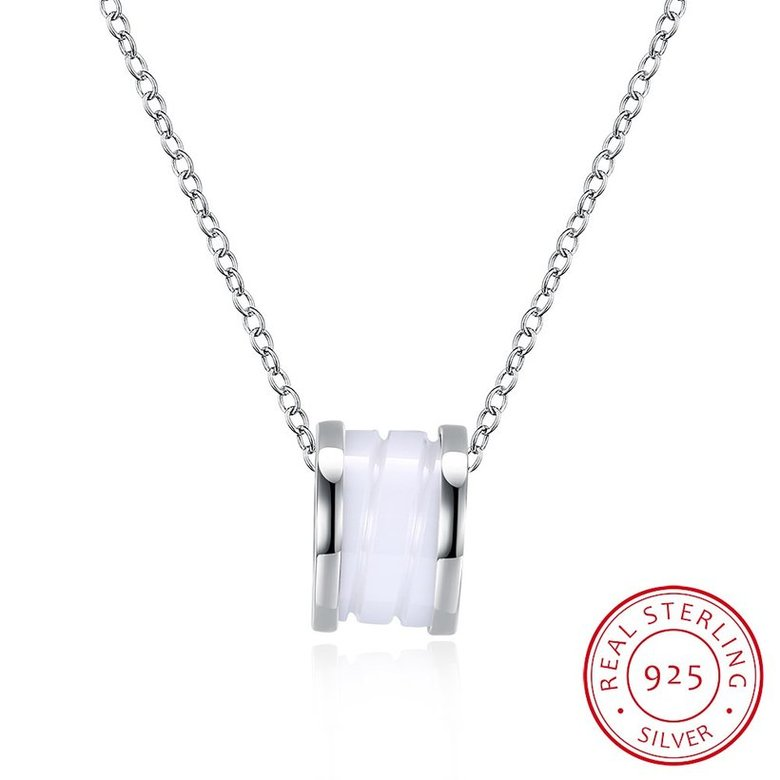 Wholesale Trendy 925 Sterling Silver Round White Ceramic Necklace TGSSN008