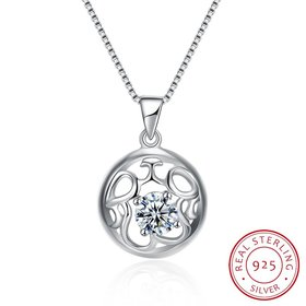Fashion 925 Sterling Silver Round CZ Hollow Necklace