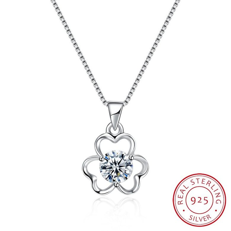 Wholesale Trendy 925 Sterling Silver CZ Flower Necklace TGSSN016