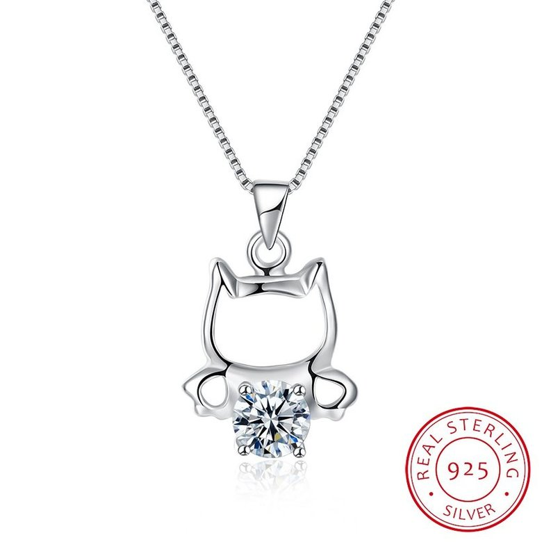 Wholesale 925 Silver Cute Cat CZ Necklace TGSSN018
