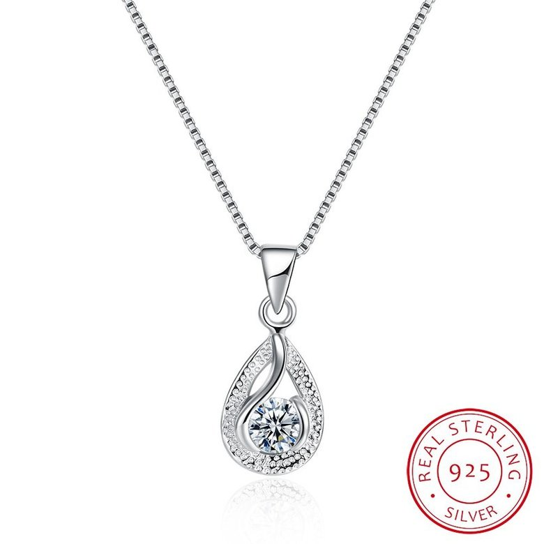 Wholesale Trendy 925 Sterling Silver Water Drop CZ Necklace TGSSN022