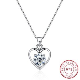 Wholesale Fashion 925 Sterling Silver Heart CZ Necklace TGSSN036