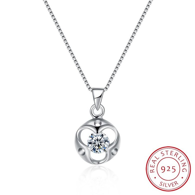 Wholesale Trendy 925 Sterling Silver Round CZ Necklace TGSSN048