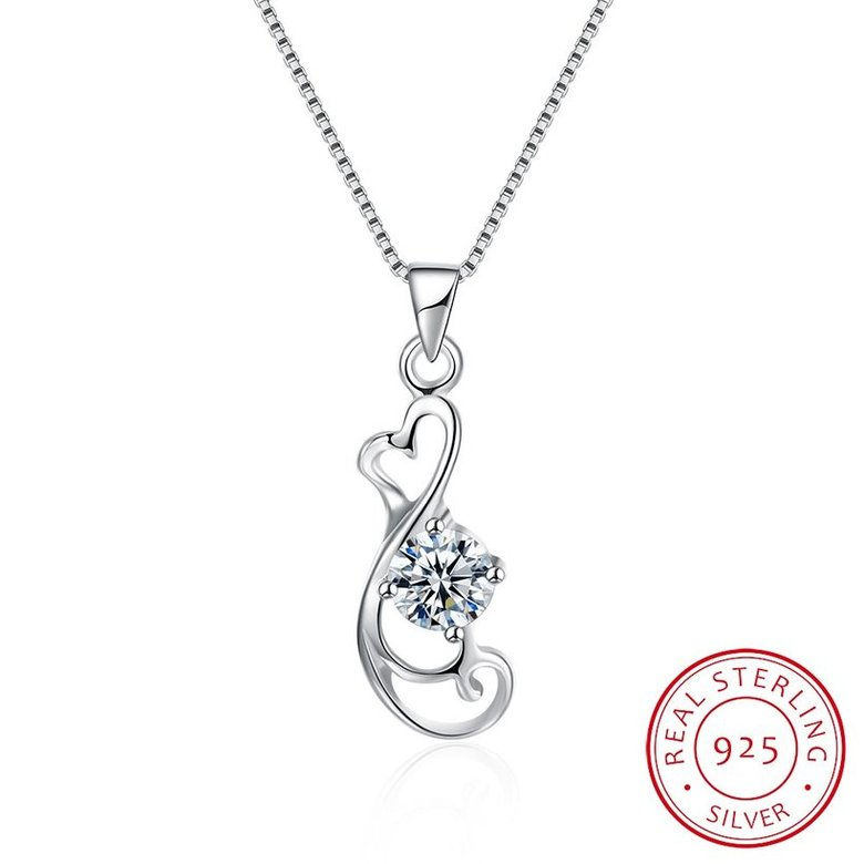 Wholesale Trendy 925 Sterling Silver Geometric CZ Necklace TGSSN059