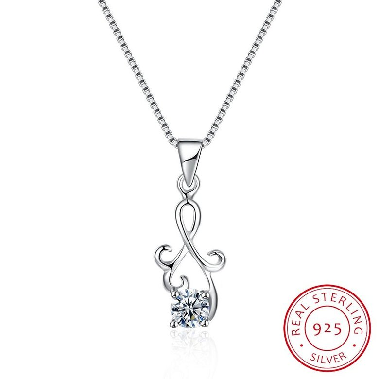 Wholesale Fashion 925 Sterling Silver Geometric CZ Necklac TGSSN061