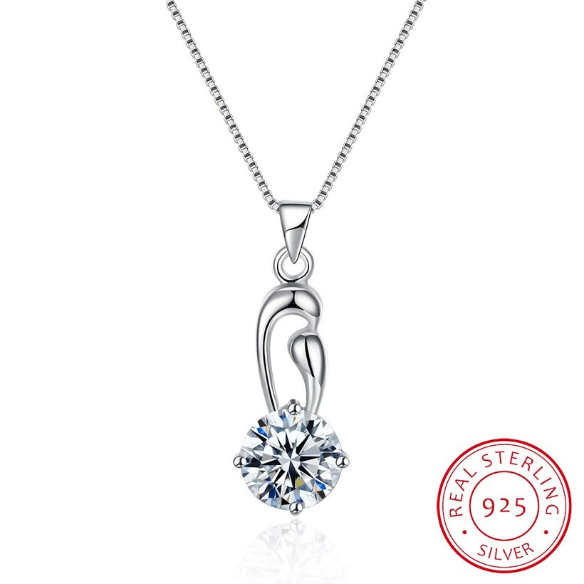 Wholesale Fashion 925 Sterling Silver Geometric CZ Necklace TGSSN063