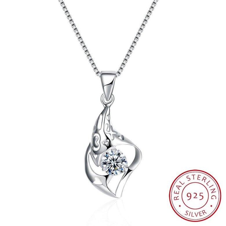 Wholesale Trendy 925 Sterling Silver CZ Necklace Free Shipping TGSSN064