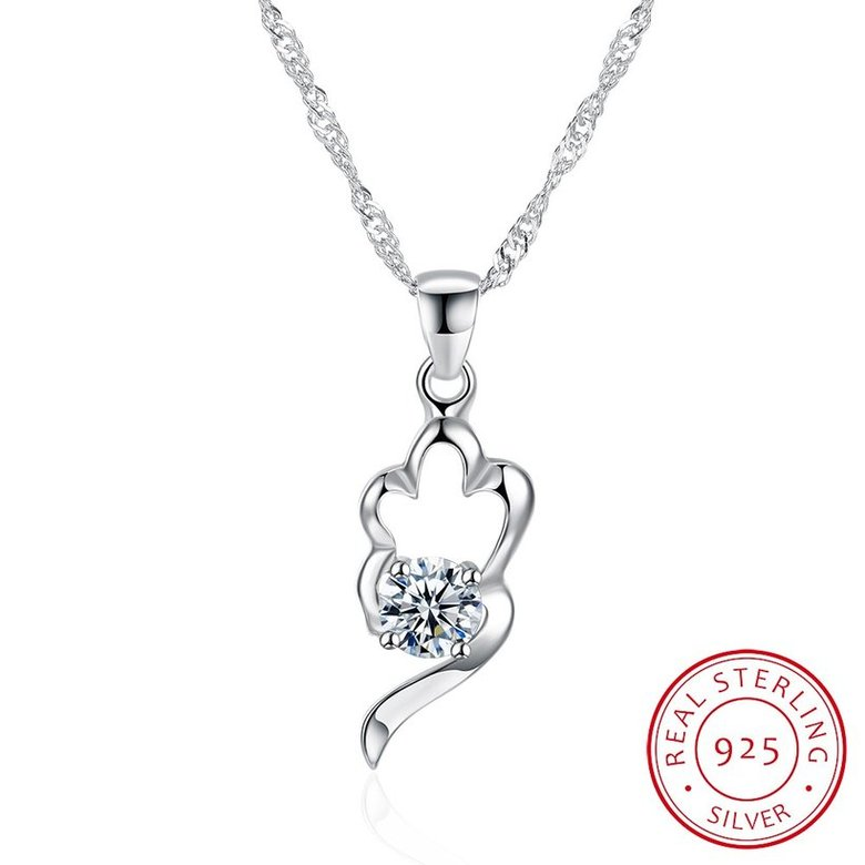 Wholesale Trendy 925 Sterling Silver CZ Necklace TGSSN066