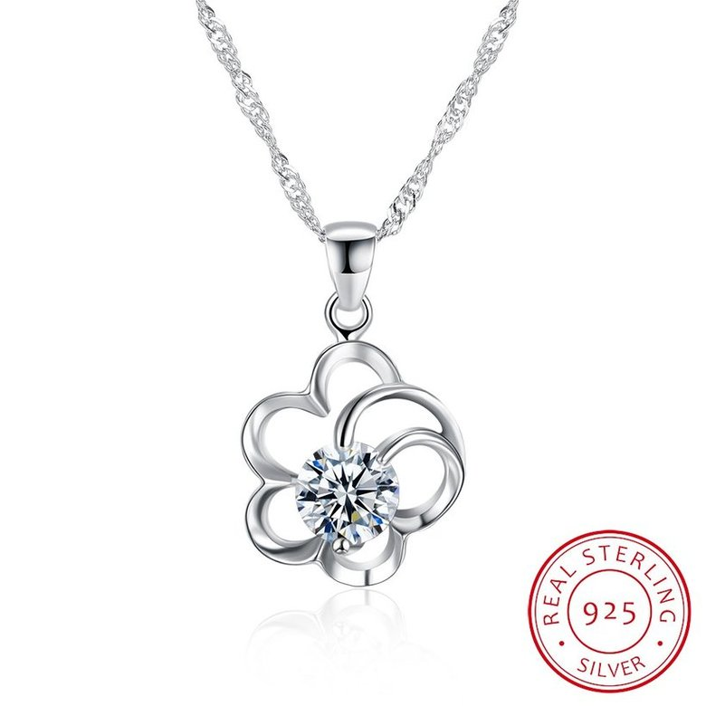 Wholesale 2018 Style 925 Sterling Silver Flower CZ Necklace TGSSN077