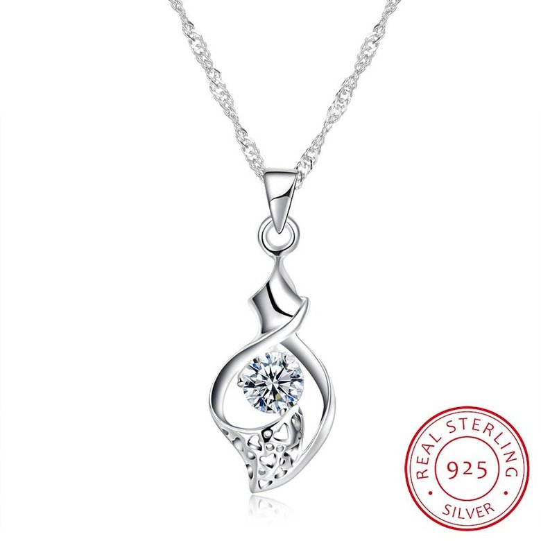 Wholesale New Fashion 925 Sterling Silver CZ Necklace TGSSN079