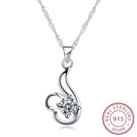 Wholesale Good Quality 925 Sterling Silver CZ Necklace TGSSN081