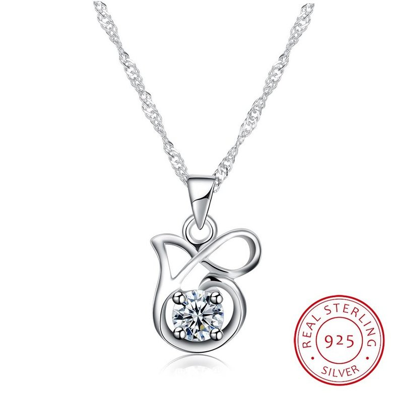 Wholesale Best Quality 925 Sterling Silver CZ Necklace TGSSN083