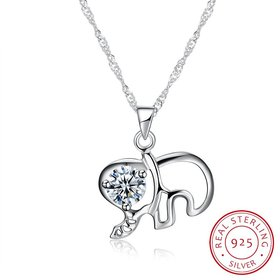 Wholesale Fashion 925 Sterling Silver Elephant CZ Necklace TGSSN003