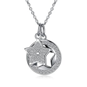 Wholesale Fashion Star CZ S925 Sterling Silver Pandent Necklace TGSSN037