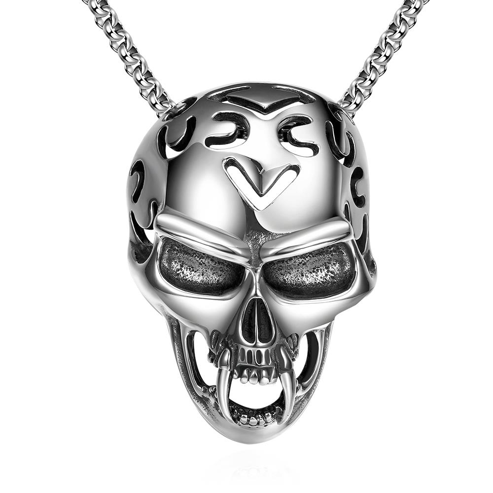 Wholesale Rock 316L stainless steel Skeleton Necklace TGSTN081