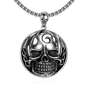 Wholesale Rock 316L stainless steel Skeleton Necklace TGSTN097