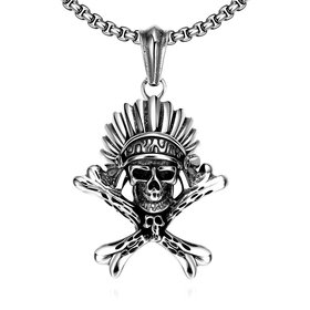 Wholesale Punk 316L stainless steel Skeleton Necklace TGSTN095