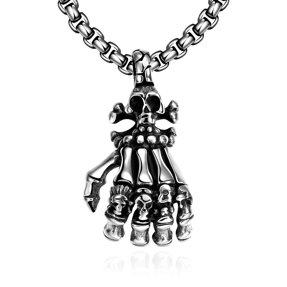 Wholesale Rock 316L stainless steel Skeleton Necklace TGSTN107
