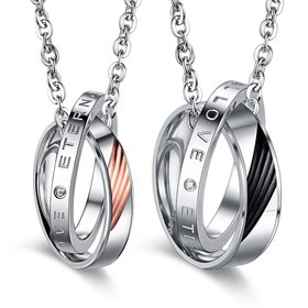 Wholesale New Fashion Stainless Steel Couples necklaceLovers TGSTN011